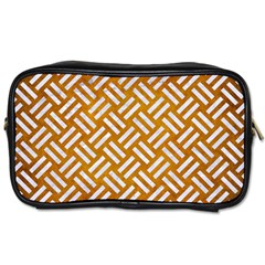 Woven2 White Marble & Yellow Grunge Toiletries Bags 2 Side by trendistuff