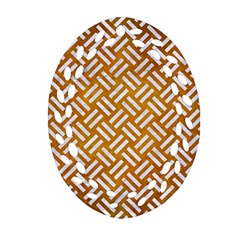 Woven2 White Marble & Yellow Grunge Ornament (oval Filigree) by trendistuff