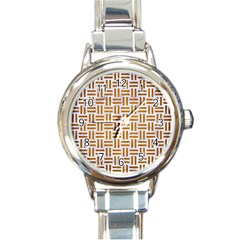 Woven1 White Marble & Yellow Grunge (r) Round Italian Charm Watch by trendistuff