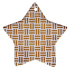 Woven1 White Marble & Yellow Grunge (r) Ornament (star) by trendistuff