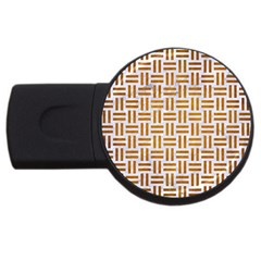 Woven1 White Marble & Yellow Grunge (r) Usb Flash Drive Round (4 Gb) by trendistuff
