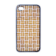 Woven1 White Marble & Yellow Grunge (r) Apple Iphone 4 Case (black) by trendistuff