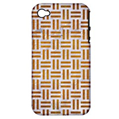 Woven1 White Marble & Yellow Grunge (r) Apple Iphone 4/4s Hardshell Case (pc+silicone) by trendistuff