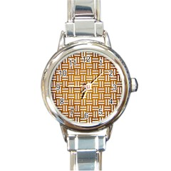 Woven1 White Marble & Yellow Grunge Round Italian Charm Watch by trendistuff