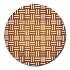 Woven1 White Marble & Yellow Grunge Round Mousepads by trendistuff