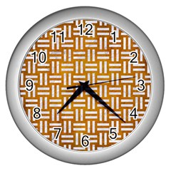 Woven1 White Marble & Yellow Grunge Wall Clocks (silver)  by trendistuff