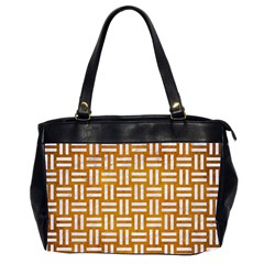 Woven1 White Marble & Yellow Grunge Office Handbags (2 Sides)  by trendistuff