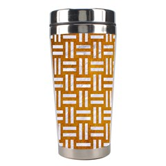 Woven1 White Marble & Yellow Grunge Stainless Steel Travel Tumblers by trendistuff