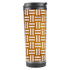 Woven1 White Marble & Yellow Grunge Travel Tumbler by trendistuff