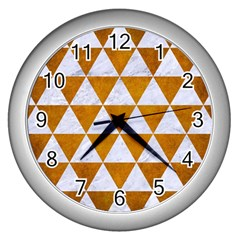 Triangle3 White Marble & Yellow Grunge Wall Clocks (silver)  by trendistuff