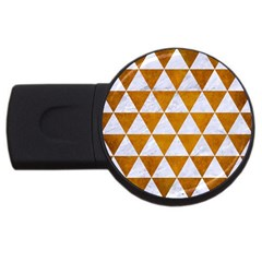 Triangle3 White Marble & Yellow Grunge Usb Flash Drive Round (2 Gb) by trendistuff