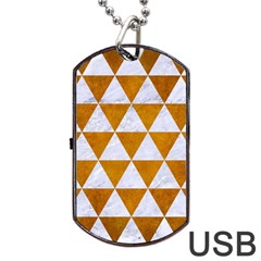 Triangle3 White Marble & Yellow Grunge Dog Tag Usb Flash (one Side) by trendistuff