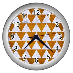 Triangle2 White Marble & Yellow Grunge Wall Clocks (silver)  by trendistuff