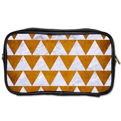 Triangle2 White Marble & Yellow Grunge Toiletries Bags by trendistuff