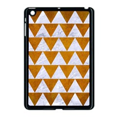 Triangle2 White Marble & Yellow Grunge Apple Ipad Mini Case (black) by trendistuff