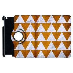 Triangle2 White Marble & Yellow Grunge Apple Ipad 3/4 Flip 360 Case by trendistuff