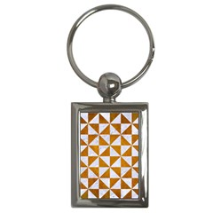 Triangle1 White Marble & Yellow Grunge Key Chains (rectangle)  by trendistuff