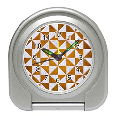 Triangle1 White Marble & Yellow Grunge Travel Alarm Clocks by trendistuff