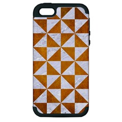 Triangle1 White Marble & Yellow Grunge Apple Iphone 5 Hardshell Case (pc+silicone) by trendistuff