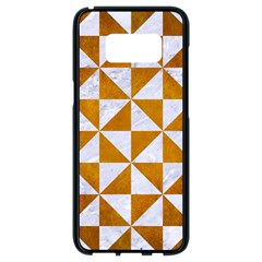 Triangle1 White Marble & Yellow Grunge Samsung Galaxy S8 Black Seamless Case by trendistuff