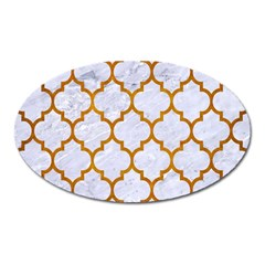 Tile1 White Marble & Yellow Grunge (r) Oval Magnet by trendistuff