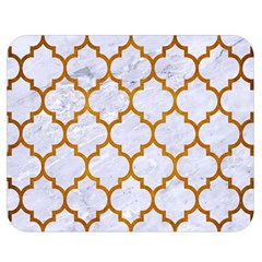 Tile1 White Marble & Yellow Grunge (r) Double Sided Flano Blanket (medium)  by trendistuff