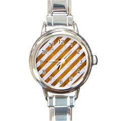 Stripes3 White Marble & Yellow Grunge (r) Round Italian Charm Watch by trendistuff