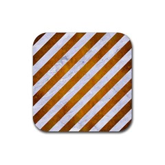 Stripes3 White Marble & Yellow Grunge (r) Rubber Square Coaster (4 Pack)  by trendistuff