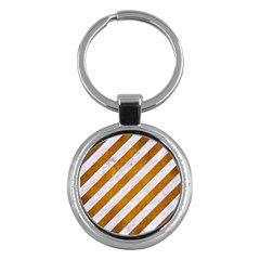 Stripes3 White Marble & Yellow Grunge (r) Key Chains (round)  by trendistuff