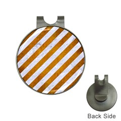 Stripes3 White Marble & Yellow Grunge (r) Hat Clips With Golf Markers
