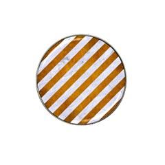 Stripes3 White Marble & Yellow Grunge (r) Hat Clip Ball Marker (4 Pack) by trendistuff