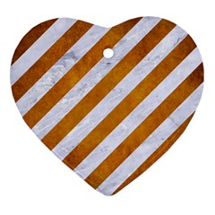 Stripes3 White Marble & Yellow Grunge (r) Heart Ornament (two Sides) by trendistuff