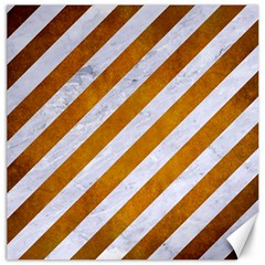 Stripes3 White Marble & Yellow Grunge (r) Canvas 20  X 20   by trendistuff
