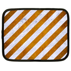 Stripes3 White Marble & Yellow Grunge (r) Netbook Case (large) by trendistuff