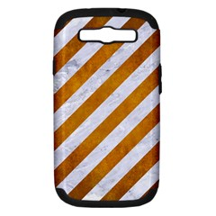 Stripes3 White Marble & Yellow Grunge (r) Samsung Galaxy S Iii Hardshell Case (pc+silicone) by trendistuff