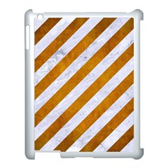 Stripes3 White Marble & Yellow Grunge (r) Apple Ipad 3/4 Case (white) by trendistuff