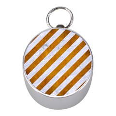Stripes3 White Marble & Yellow Grunge (r) Mini Silver Compasses by trendistuff