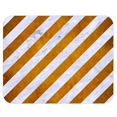 Stripes3 White Marble & Yellow Grunge (r) Double Sided Flano Blanket (medium)  by trendistuff