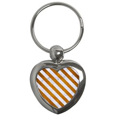 Stripes3 White Marble & Yellow Grunge Key Chains (heart)  by trendistuff