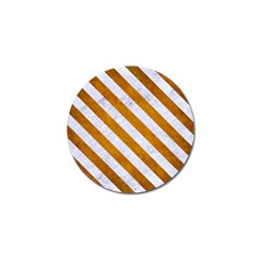Stripes3 White Marble & Yellow Grunge Golf Ball Marker (4 Pack)