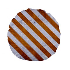 Stripes3 White Marble & Yellow Grunge Standard 15  Premium Round Cushions by trendistuff