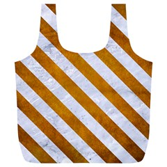 Stripes3 White Marble & Yellow Grunge Full Print Recycle Bags (l)  by trendistuff