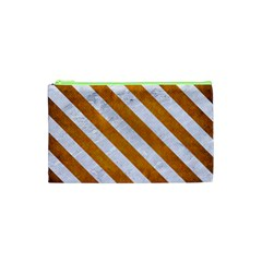 Stripes3 White Marble & Yellow Grunge Cosmetic Bag (xs) by trendistuff