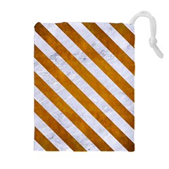 Stripes3 White Marble & Yellow Grunge Drawstring Pouches (extra Large) by trendistuff