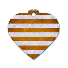 Stripes2white Marble & Yellow Grunge Dog Tag Heart (two Sides) by trendistuff