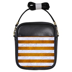 Stripes2white Marble & Yellow Grunge Girls Sling Bags by trendistuff
