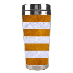 Stripes2white Marble & Yellow Grunge Stainless Steel Travel Tumblers by trendistuff