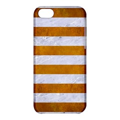 Stripes2white Marble & Yellow Grunge Apple Iphone 5c Hardshell Case by trendistuff