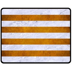 Stripes2white Marble & Yellow Grunge Double Sided Fleece Blanket (medium)  by trendistuff
