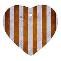 Stripes1 White Marble & Yellow Grunge Ornament (heart) by trendistuff